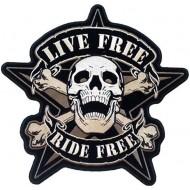 Našitek Skull Live Free