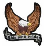 Našitek Orel z napisom Ride with pride
